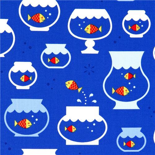 blue goldfish in fish bowl fabric by Robert Kaufman