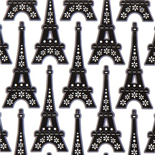 white designer fabric Eiffel Tower & flower from the USA