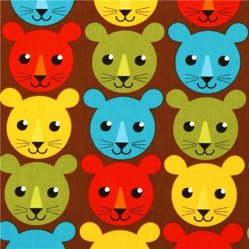 brown fabric with colourful tigers by Robert Kaufman