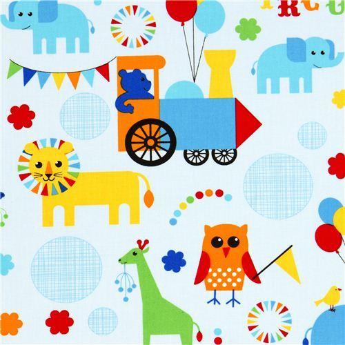 light blue fabric circus animals locomotive Robert Kaufman