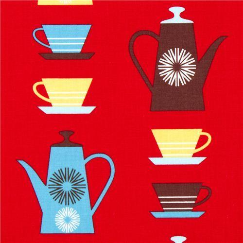 red fabric with coffee pots & mugs by Robert Kaufman