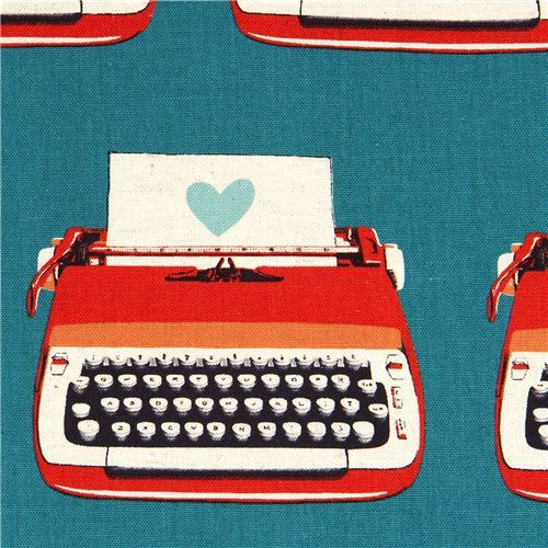 canvas retro fabric with typewriter & heart by Kokka