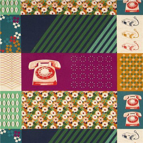 purple Kokka retro fabric with phone flower rectangular