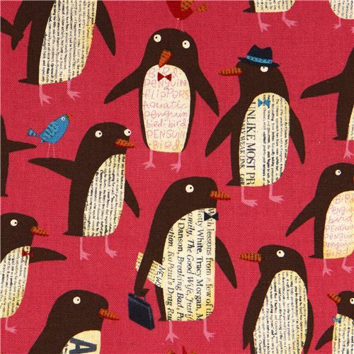 pink penguin canvas fabric by Nancy Wolff Kokka