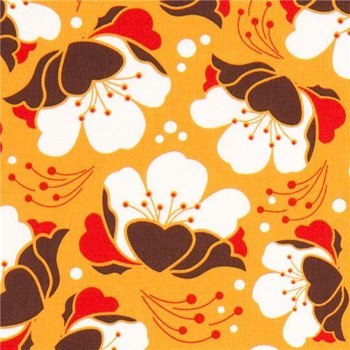 orange Gardenia flower fabric by Michael Miller USA