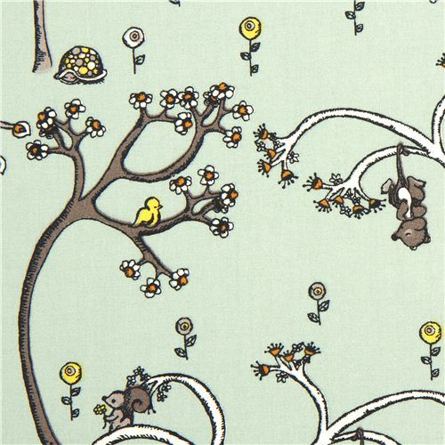 green birch organic fabric from the USA with trees & animals