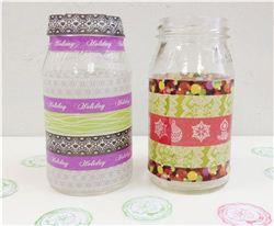 Christmas Washi Tape Candle Jars
