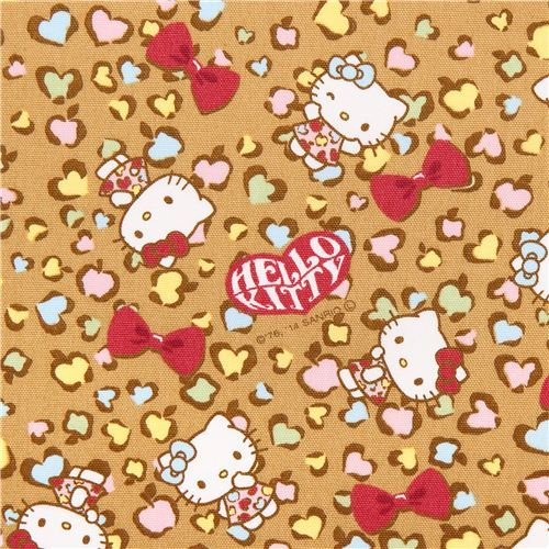 ocher brown Hello Kitty oxford fabric leopard print by Sanrio from Japan