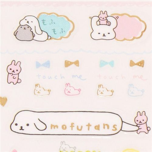 kawaii San-X Mofutans Mochi rabbit and numbers stickers from Japan