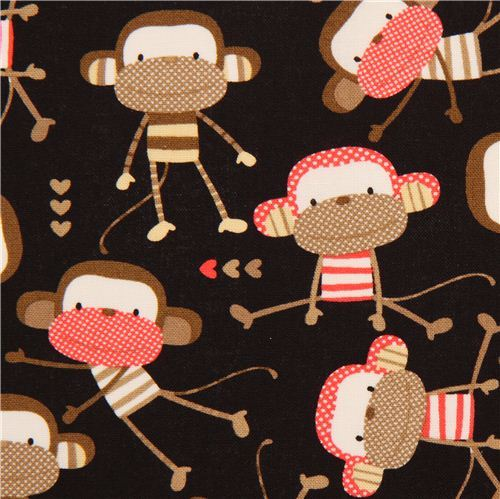 black monkey animal fabric Timeless Treasures USA