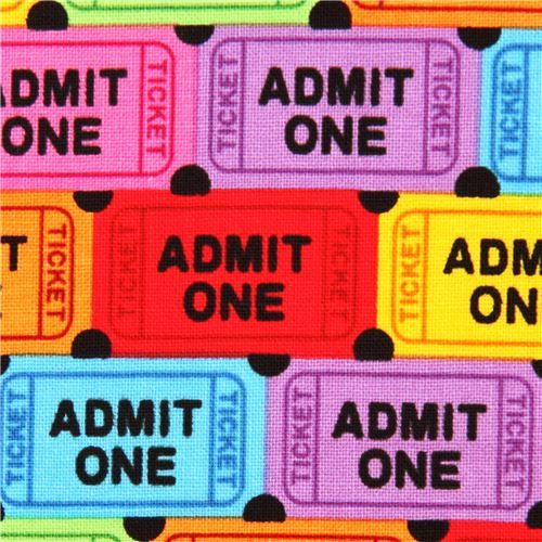 colorful movie ticket retro fabric by Timeless Treasures USA