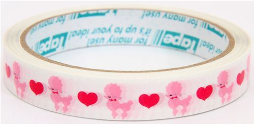 cute poodle Deco Tape dogs hearts kawaii
