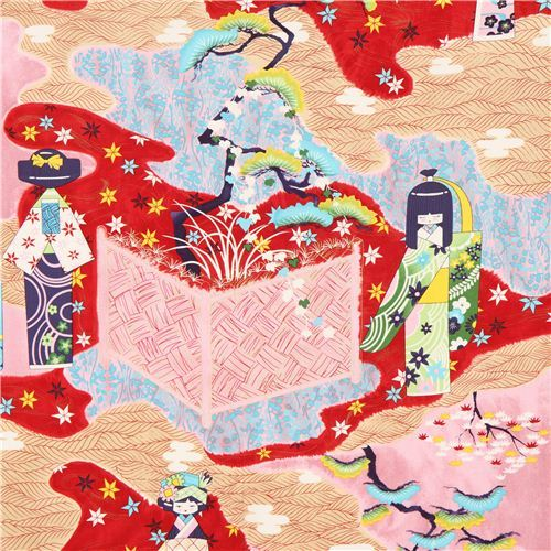 Alexander Henry Anesama Japanese doll fabric red