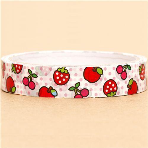 kawaii Sticky Deco Tape with strawberry cherry apple