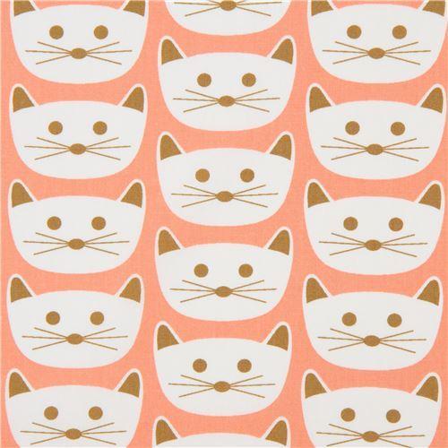 peach fabric with cat animal by Art Gallery Fabrics