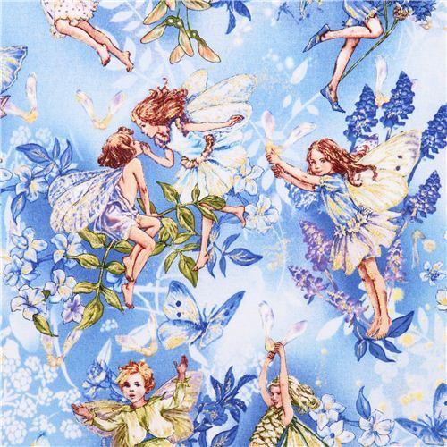 blue fairy tale fabric Michael Miller Dawn fairies