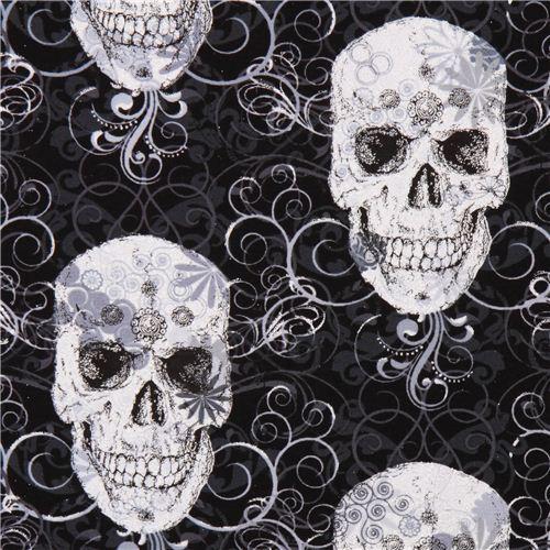 Flourish Skull Metallic skull fabric Timeless Treasures