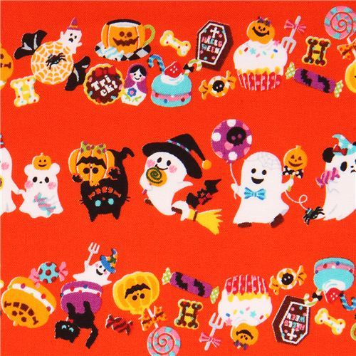 orange Trick or Treat ghost Cosmo Halloween fabric macaron