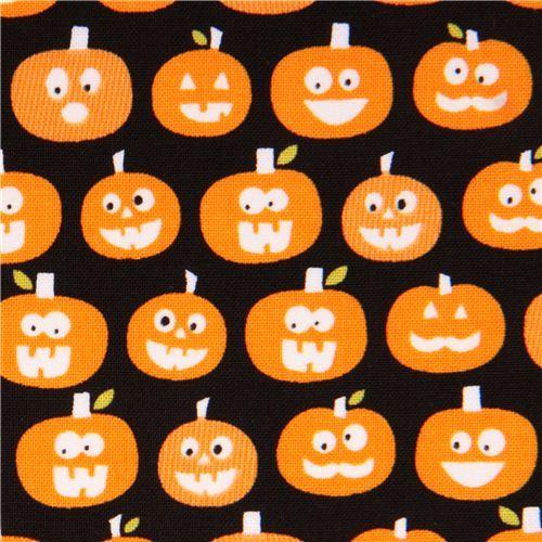 black glow in the dark Riley Blake pumpkin fabric Halloween Magic