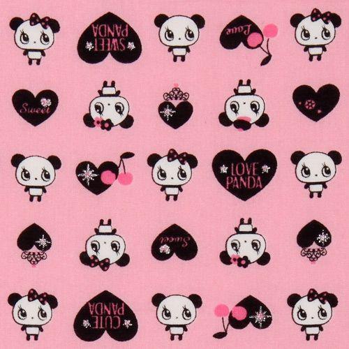 pink kawaii panda fabric with black hearts Japan