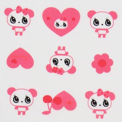 white big panda fabric with pink hearts Japan