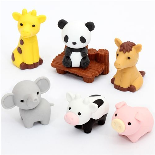 Iwako erasers Zoo Animals 7 pieces set