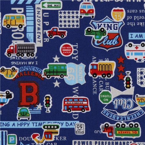 blue cars fabric for boys by Kokka Japan