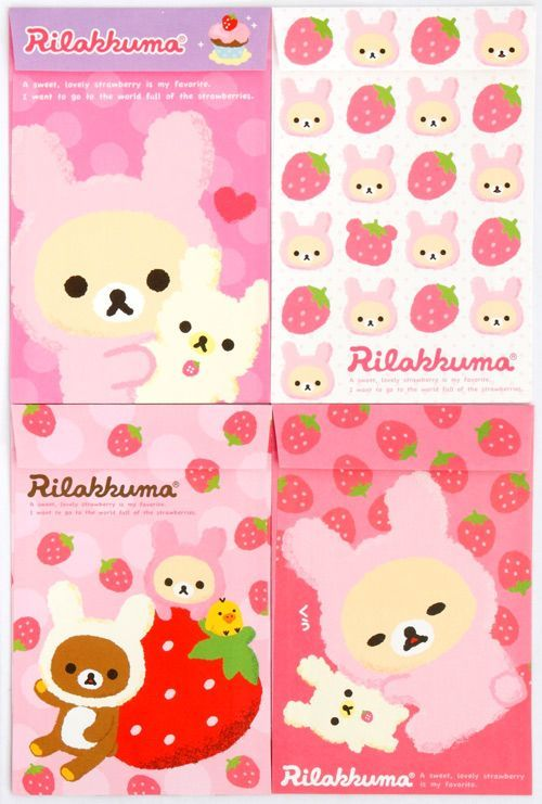 Rilakkuma bear Letter Set strawberry from Japan