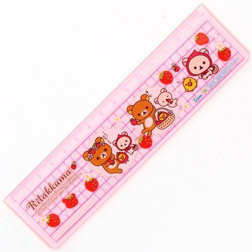 cute pink Rilakkuma bear ruler with strawberry Japan