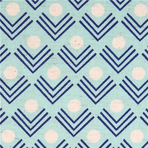 blue corners angle geo Canvas fabric Framework Kokka