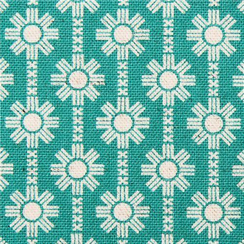 teal Daisy Chain flower Canvas fabric Framework Kokka