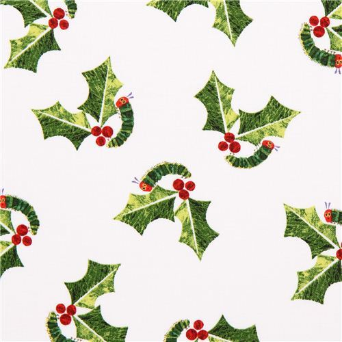 white The Very Hungry Caterpillar Christmas fabric Andover USA
