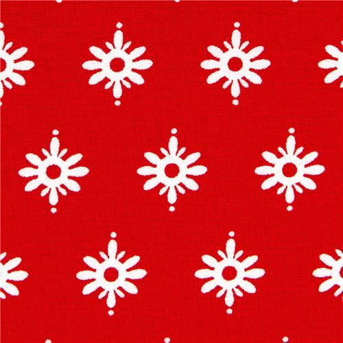 red Michael Miller Christmas fabric with Christmas stars