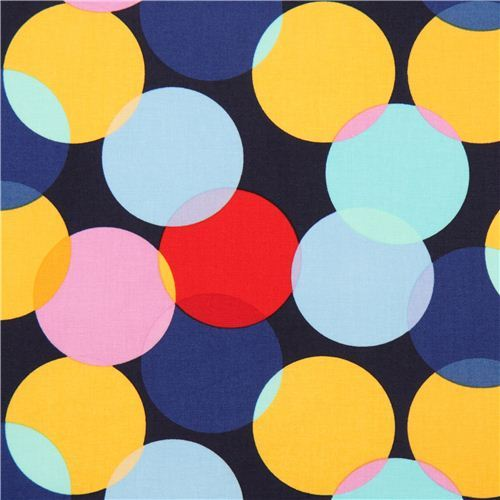 navy blue polka big colorful dot fabric by Michael Miller