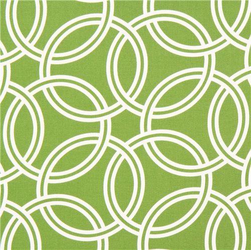 grass green ring pattern cotton sateen fabric Michael Miller