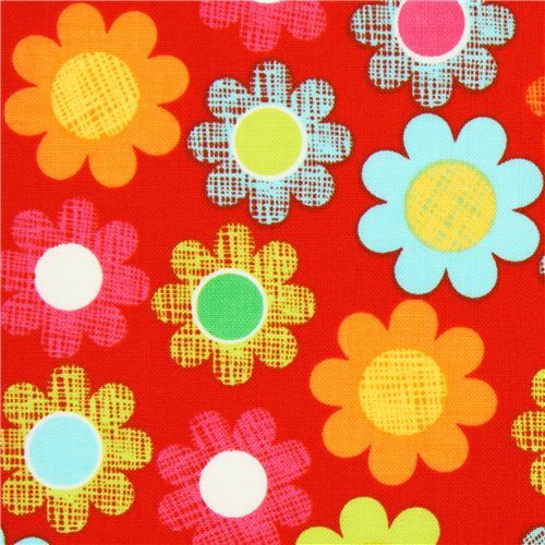 red cute flower fabric by Michael Miller USA