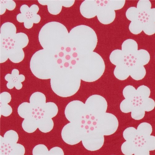 Michael Miller knit fabric Red Blossoms by Patty Young