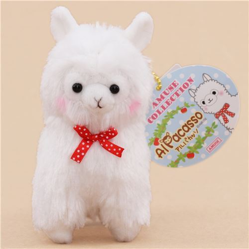 cute white alpaca red bow plush toy from Japan