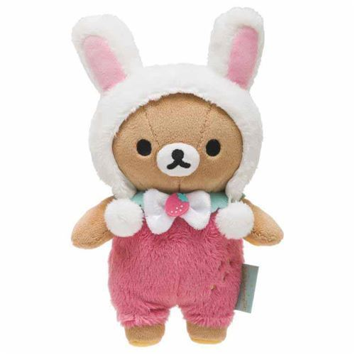 cute Rilakkuma teddy bear in pink white rabbit costume by San-X