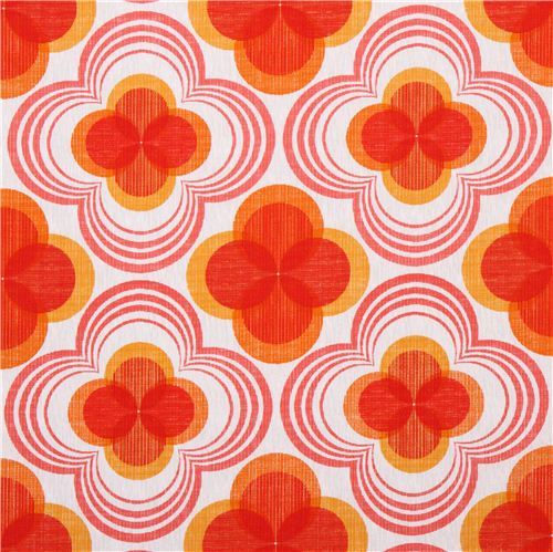 retro flower ornament canvas fabric red Robert Kaufman