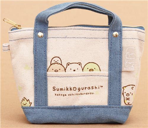 denim Sumikkogurashi shy animals canvas linen pouch pencil case