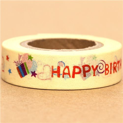 yellow Washi Masking Tape deco tape Happy Birthday