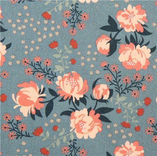 Peonies Blue peony flower birch organic fabric from the USA