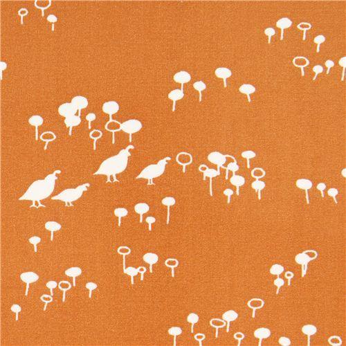 orange Quail and Poppy bird flower poplin organic fabric birch USA