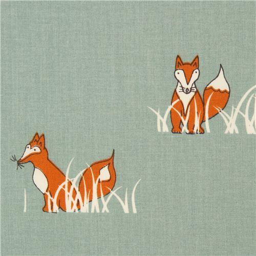 sea green fox organic fabric by birch from the USA