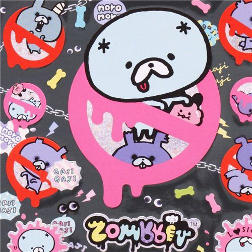 funny Zombbit zombie rabbit sign stickers from Japan