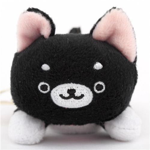 cute small black Iiwaken Kurosuke dog plush toy with collar