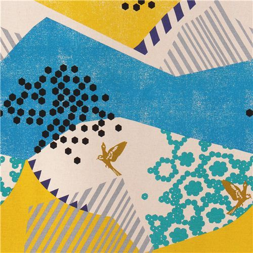 echino landscape canvas fabric blue-yellow from Japan bird mountain