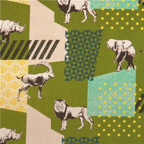 green echino zon canvas fabric pattern safari animals from Japan