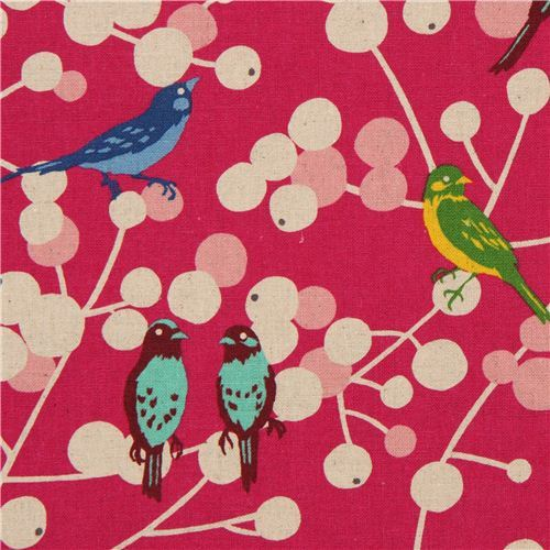 pink echino birds and berries canvas fabric cherry